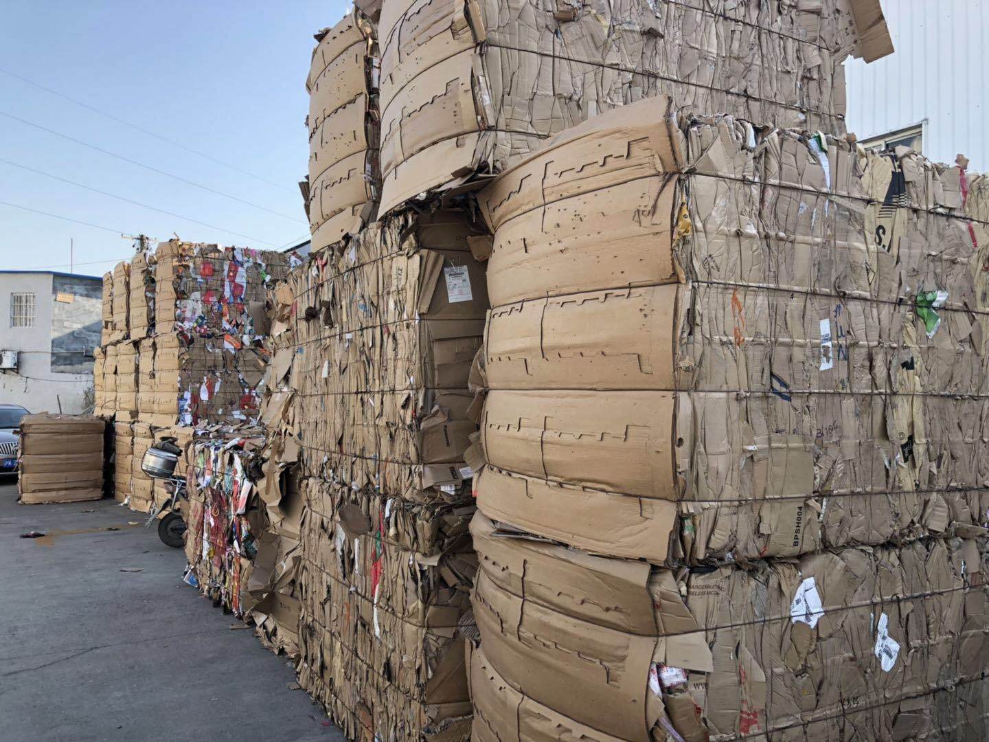 Pallets of recycled paper at the informal recycling center close to Concordia.