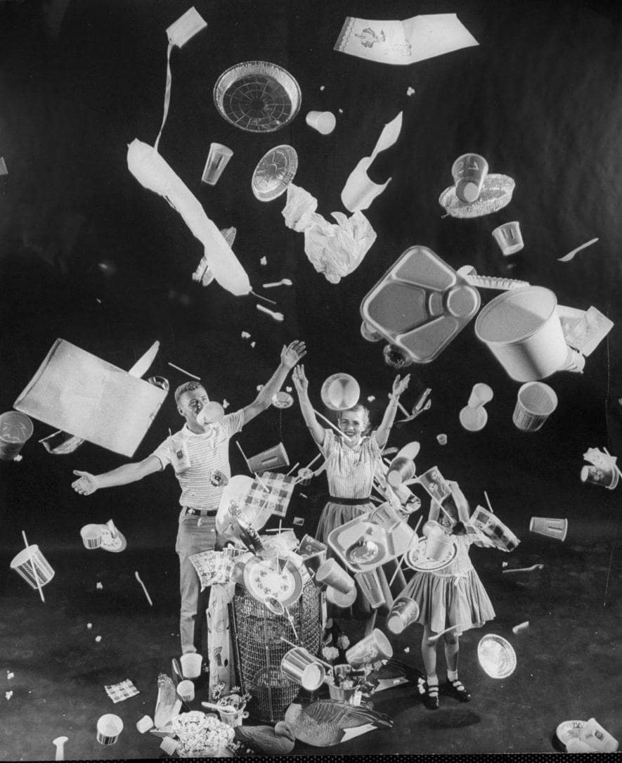 Text: Life Magazine (1955), in which an American family celebrates the rise of disposable plastics.  (Photo by Peter Stackpole, Life Picture Collection/Getty Images)