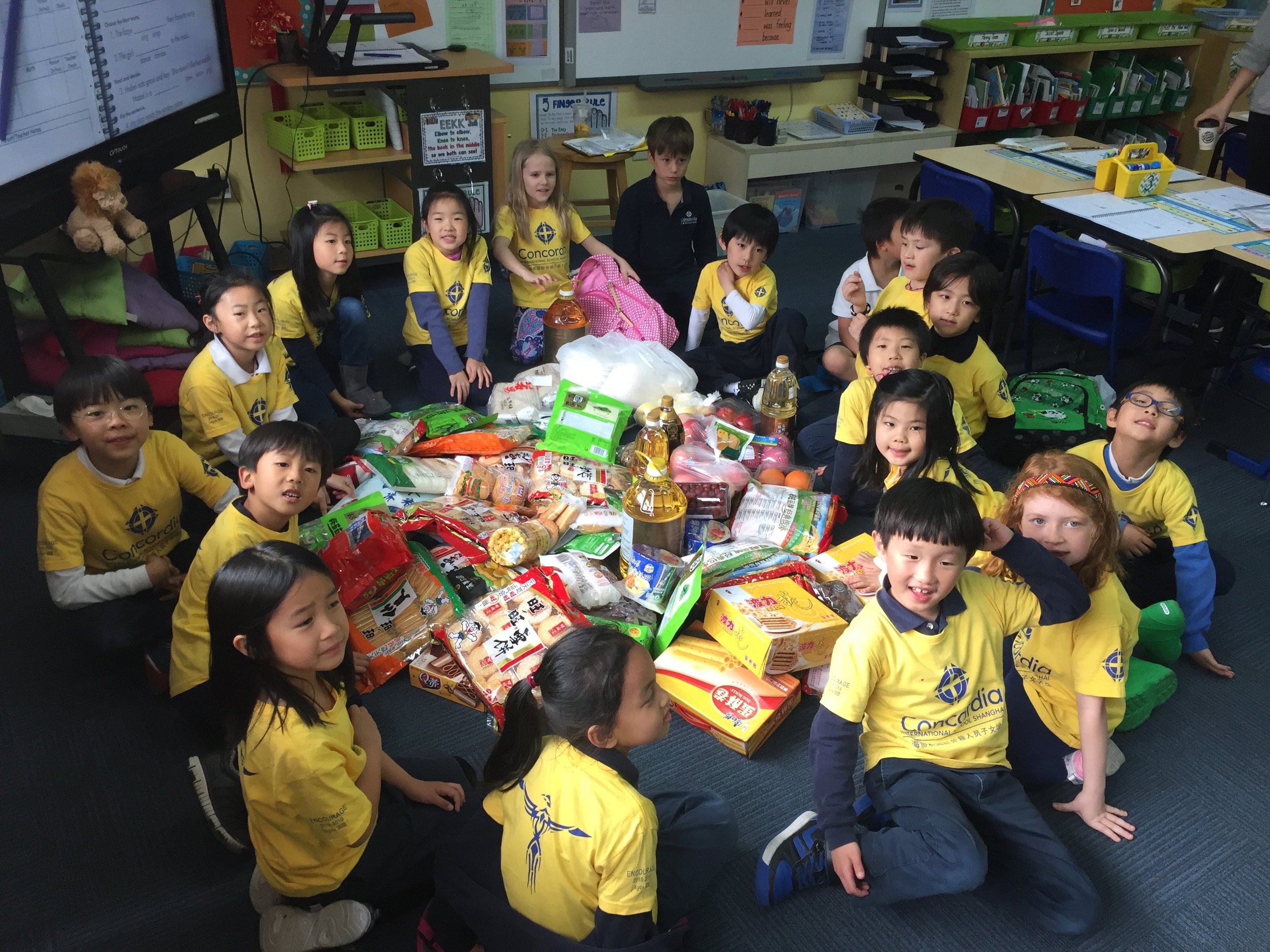 Grade 1 students after their trip to Carrefour, assembling items for Baobei, The Will Foundation and Shining Star.