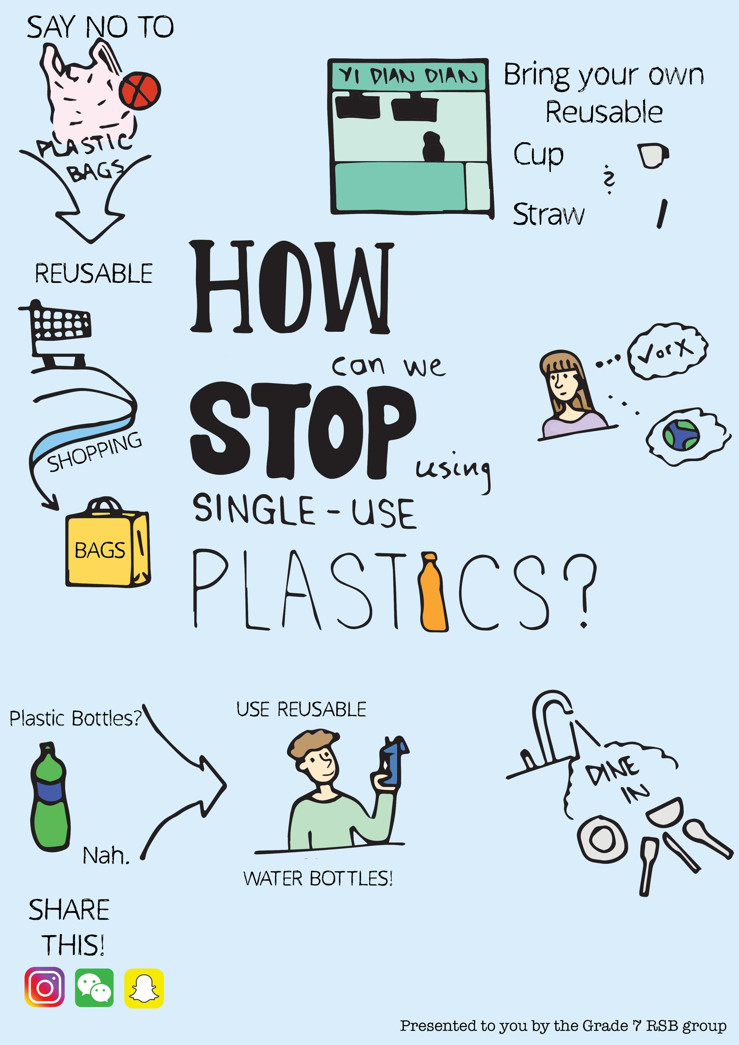 A poster designed by grade 7 RSB students to advocate for awareness about single-use plastics.