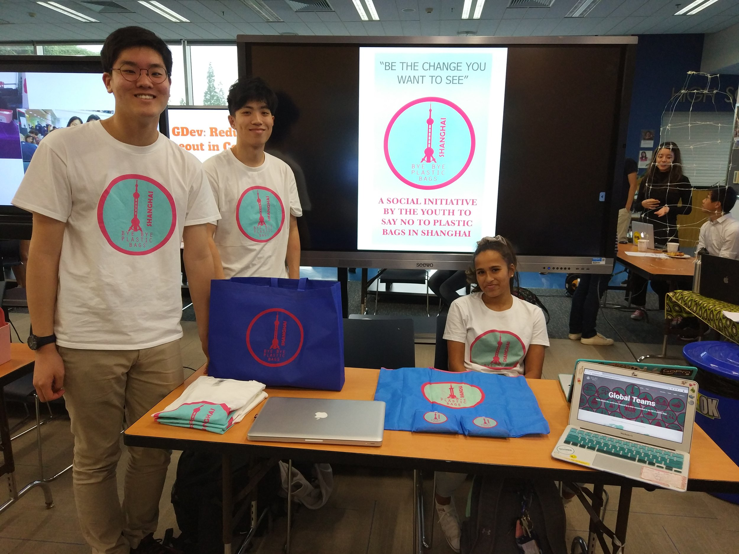 Students from the Global Issues Network's Bye Bye Plastic Bags group. Hoony K (left) won an inaugural Concordia Service Award for his work in founding the BBPB Shanghai chapter.