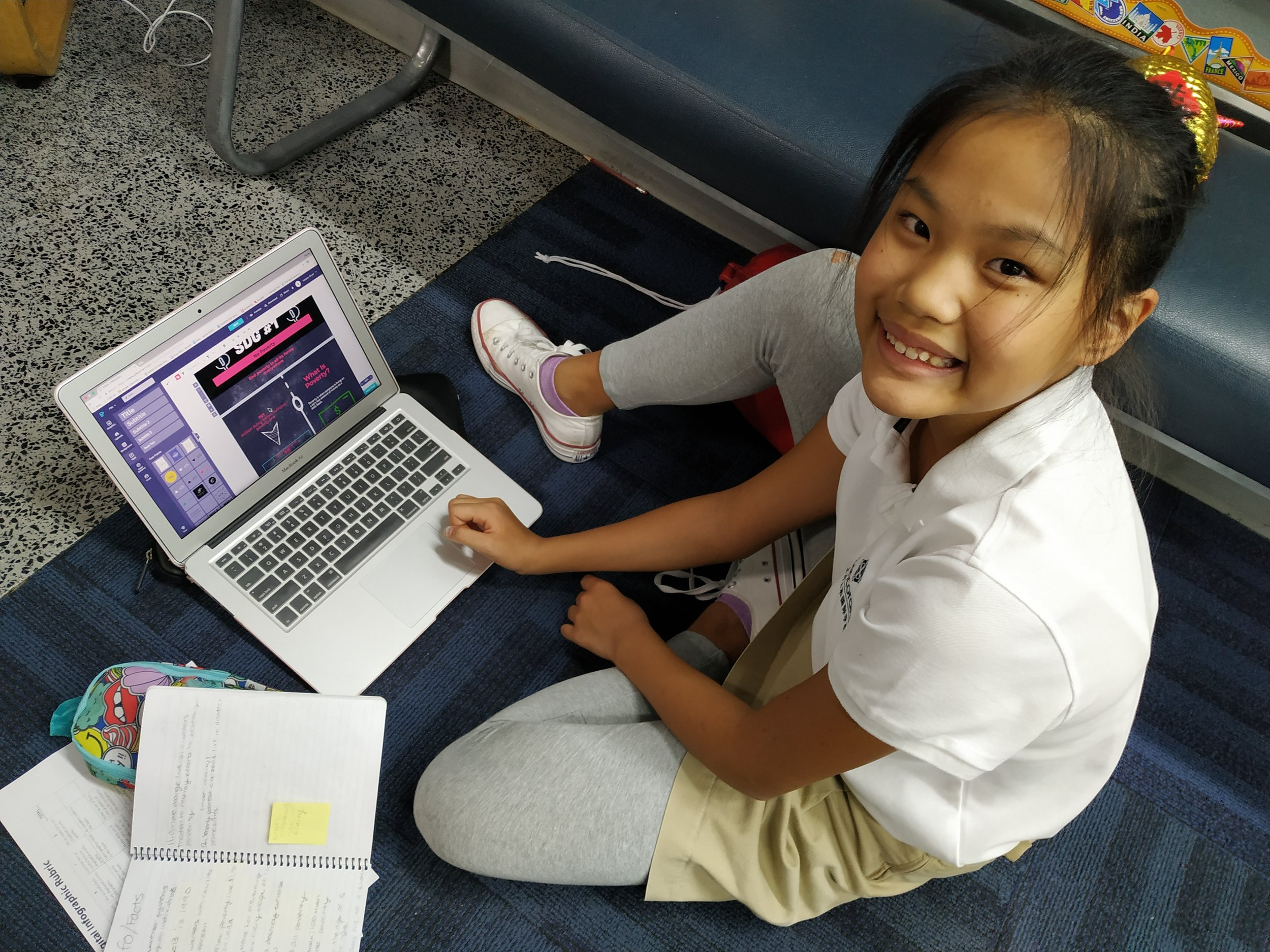 A grade 6 student in Deb Lancashire's class conducts research for her advocacy project.