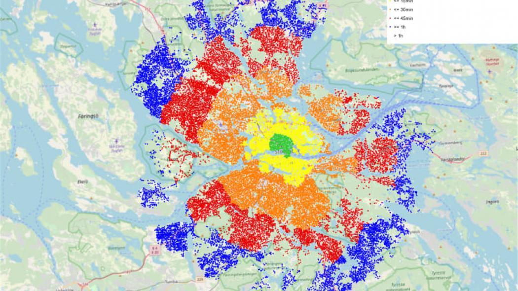 Grön punkt visar på mindre än 5 minuter, gul punkt 15 minuter, orange 30 minuter, röd 45 minuter och blå 1 timme