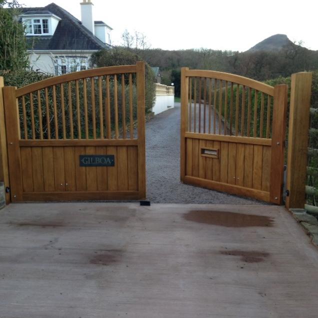 Iroko gates Hereford
