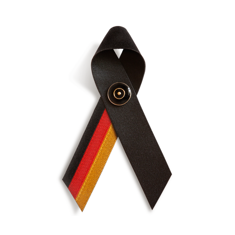 TRAUERSCHLEIFE° Deutschland mit TRAUERNADEL schwarz/gold * MOURNING RIBBON° Germany and MOURNING PIN° black/gold