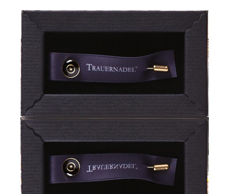 Die CONVELA TRAUERNADEL° im Schmuckschuber / CONVELA MOURNING PIN° in a decorative box