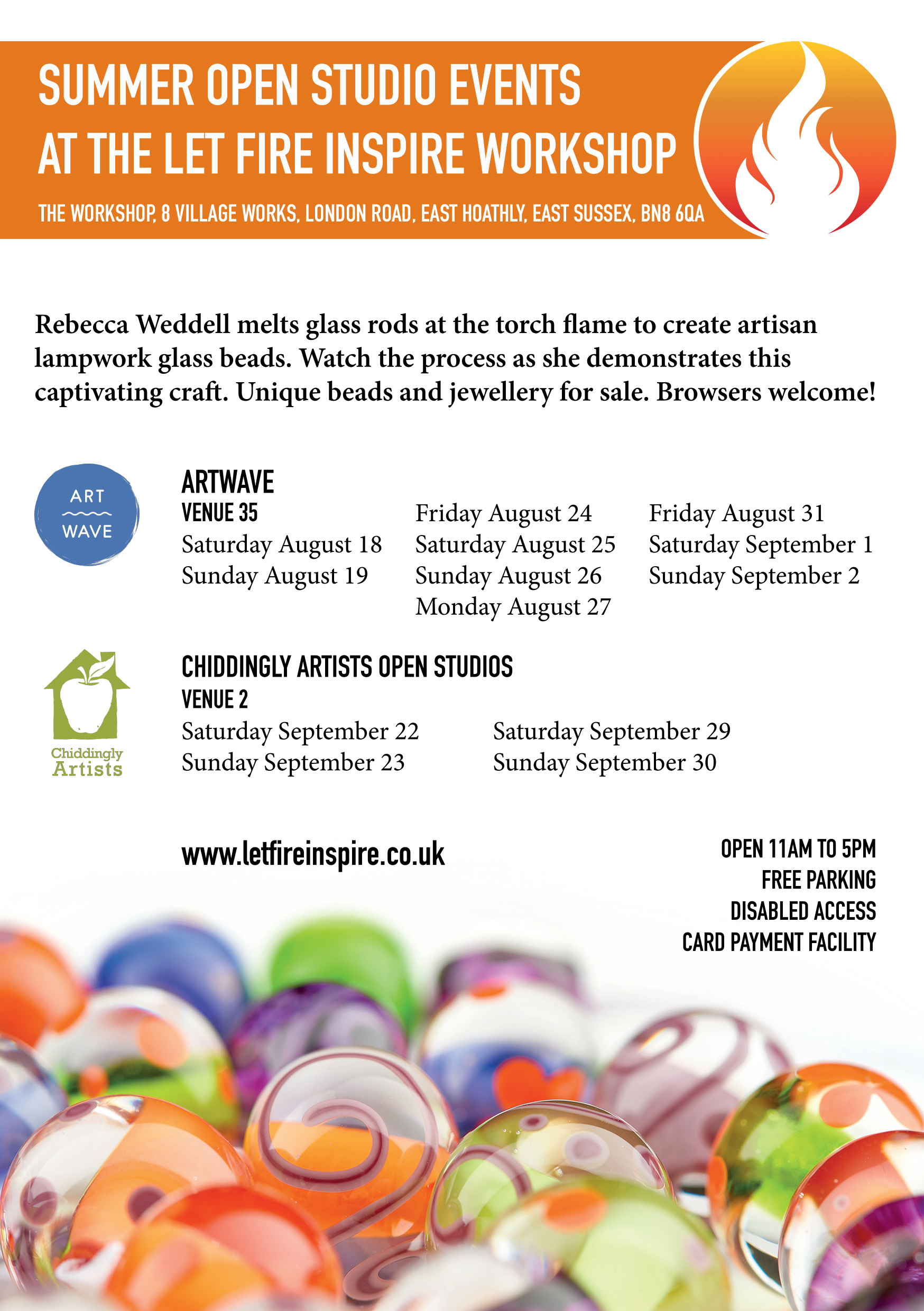 Visit the workshop in August and September as part of Artwave and CAOS!