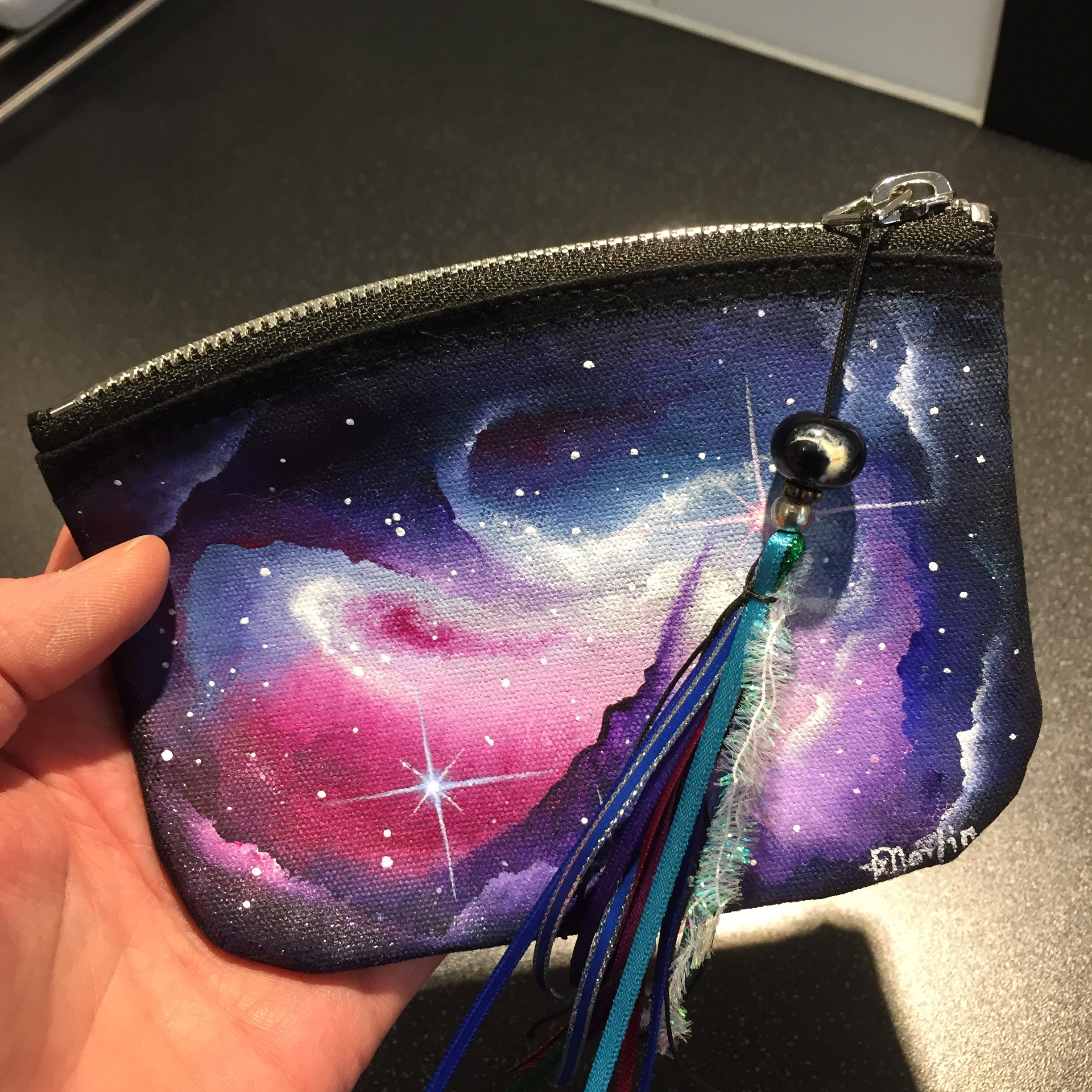 Here's the bag - I love the moon bead at the top of the tassel, which itself tones beautifully with the bag.