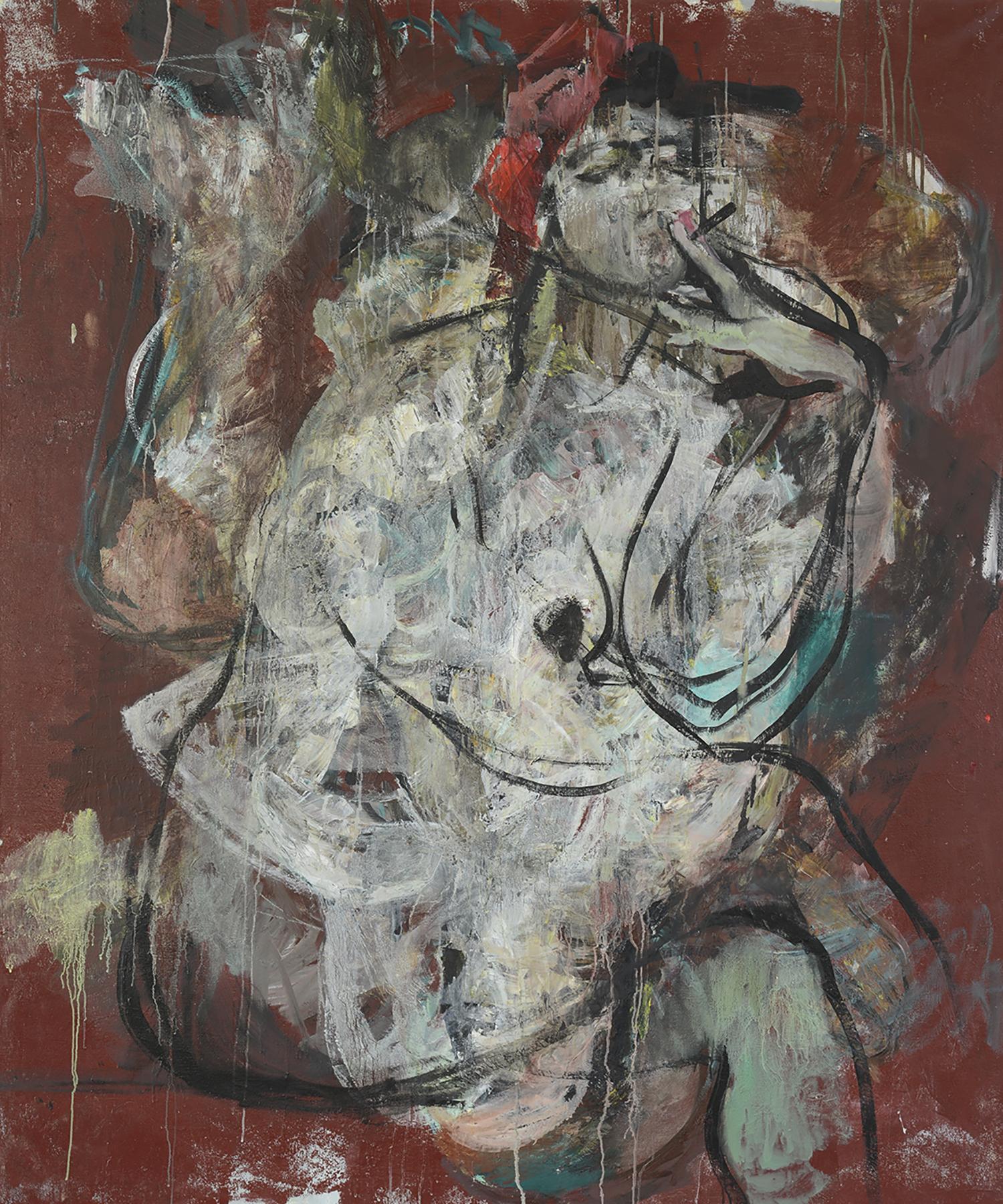 Die Rauchende , 180 x 150 cm, Oil on canvas, 2016.