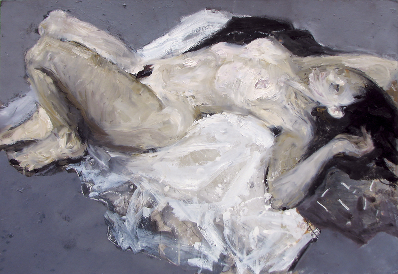 Reclining Nude , 60 x 80 cm, Oil on cardboard, 2014.