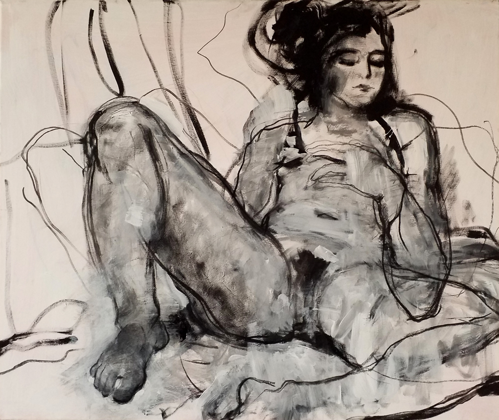 French Girl , 100 x 120 cm, charcoal and aclylic on canvas, 2018