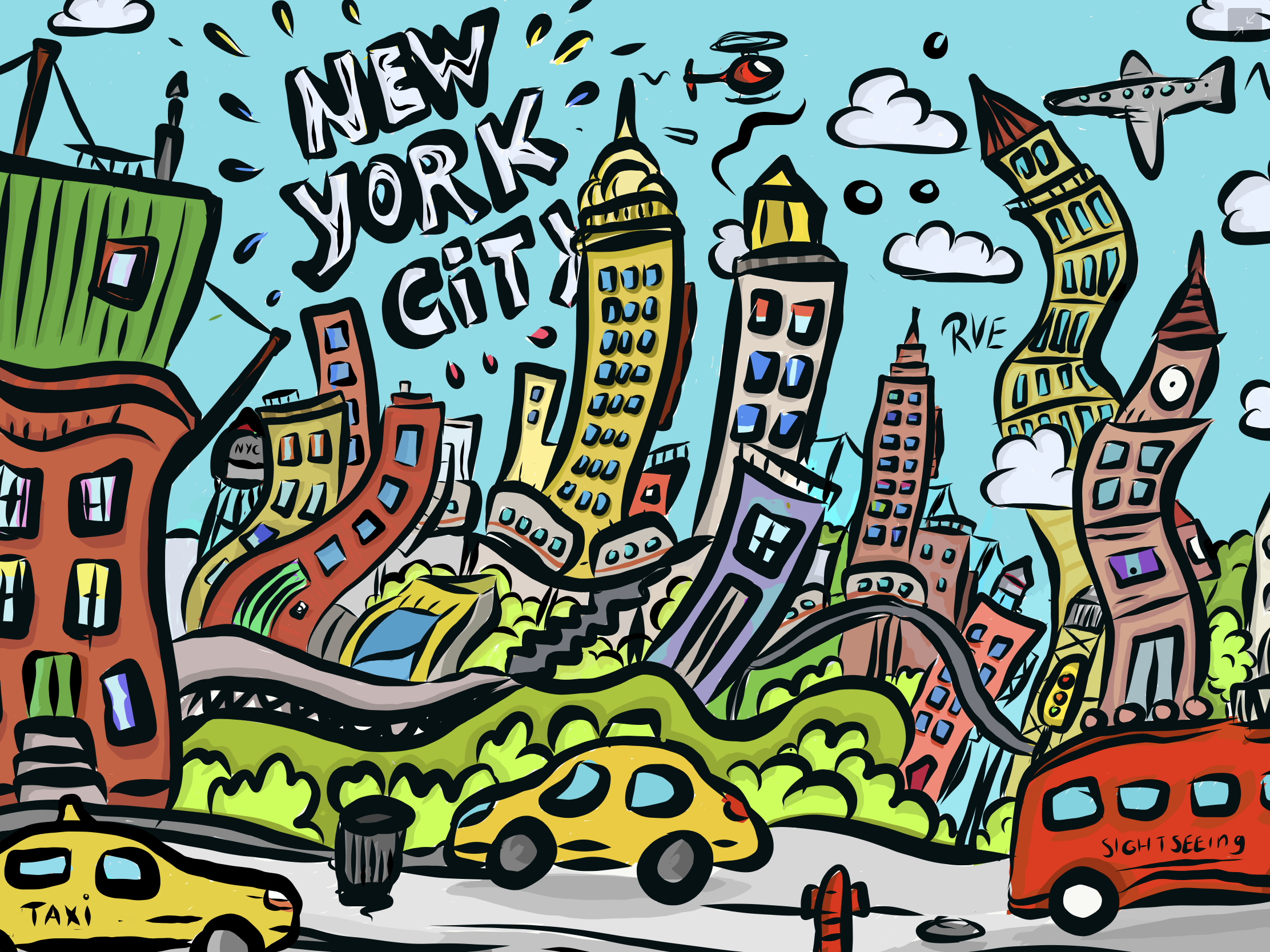 New York New York.  A spontaneous drawing while visiting NYC this spring. The vibrant city is always moving, so I implemented that in the images - RvE 2018  - iPad Pro, Adobe Draw