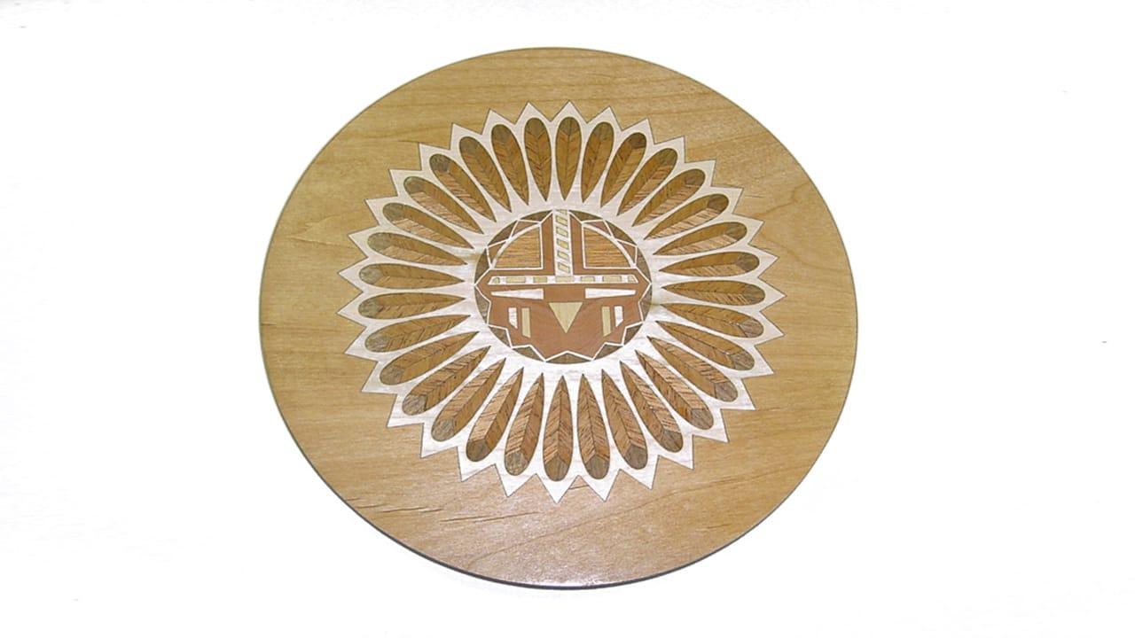 Laser engraving wood inlay circle