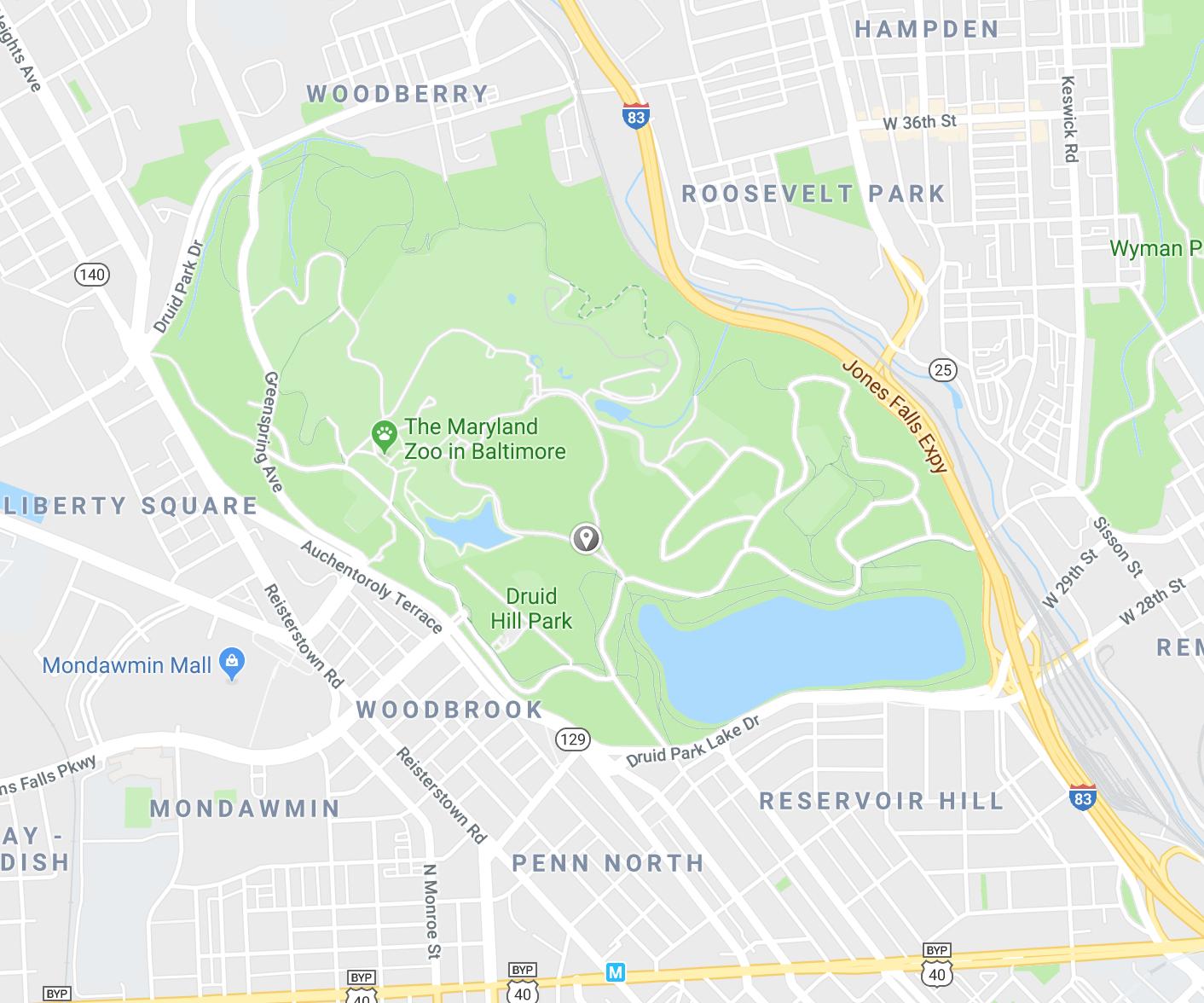 You can plugin: Hanlon Dr. Baltimore, MD 21211 into Google Maps