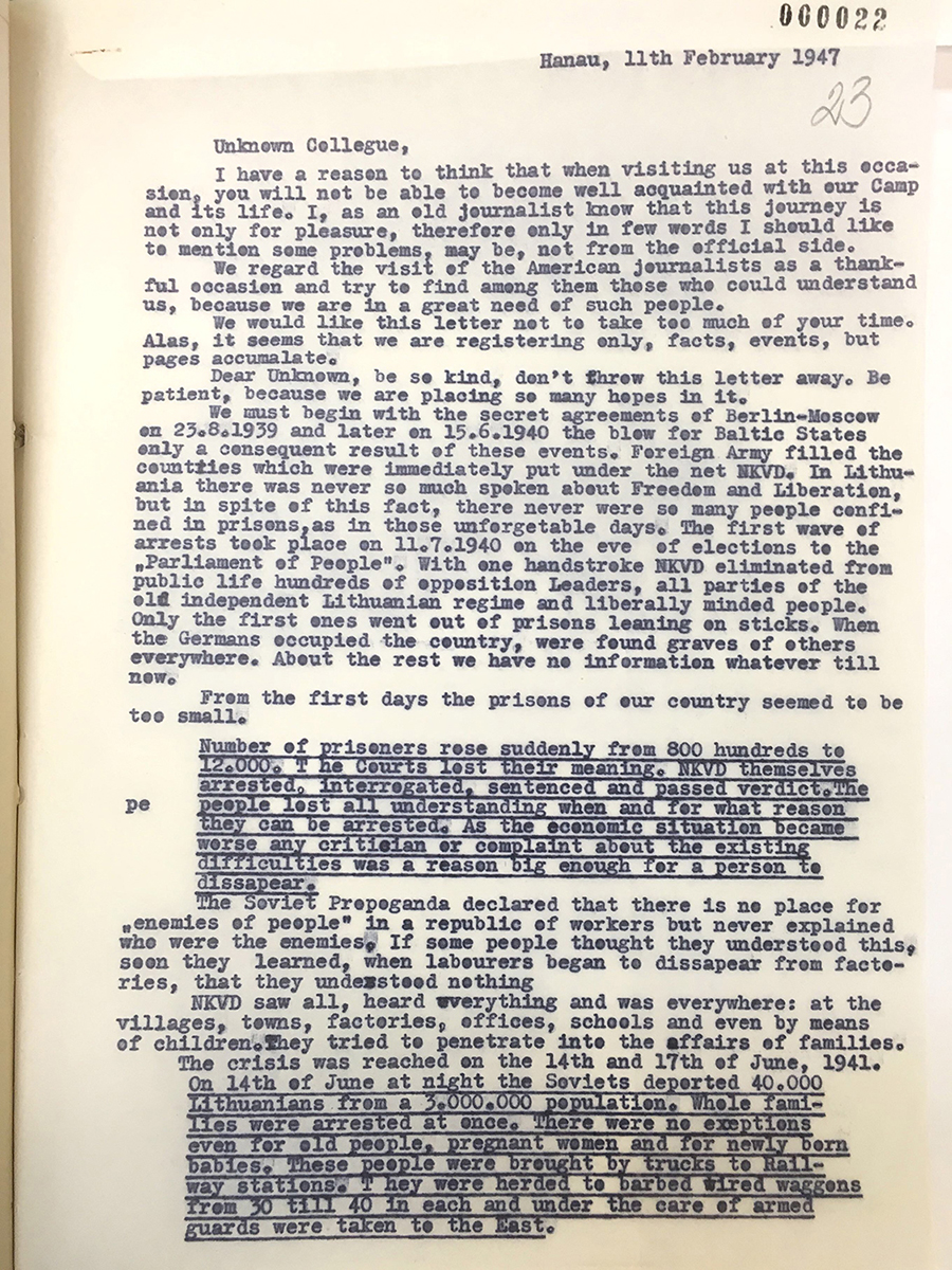 Plea letter from Hanau DP camp 1947
