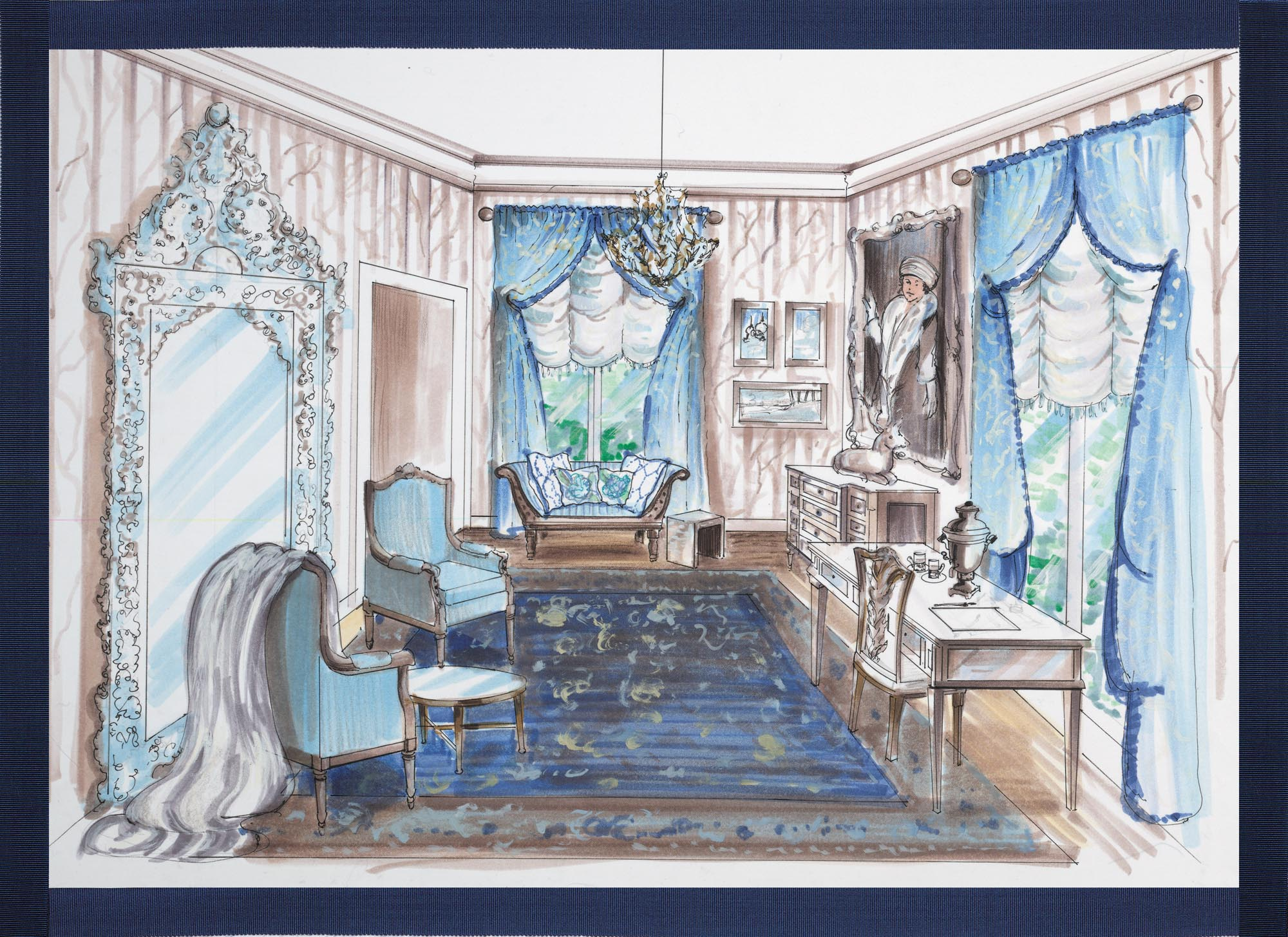 Elegant living room with blue sofas