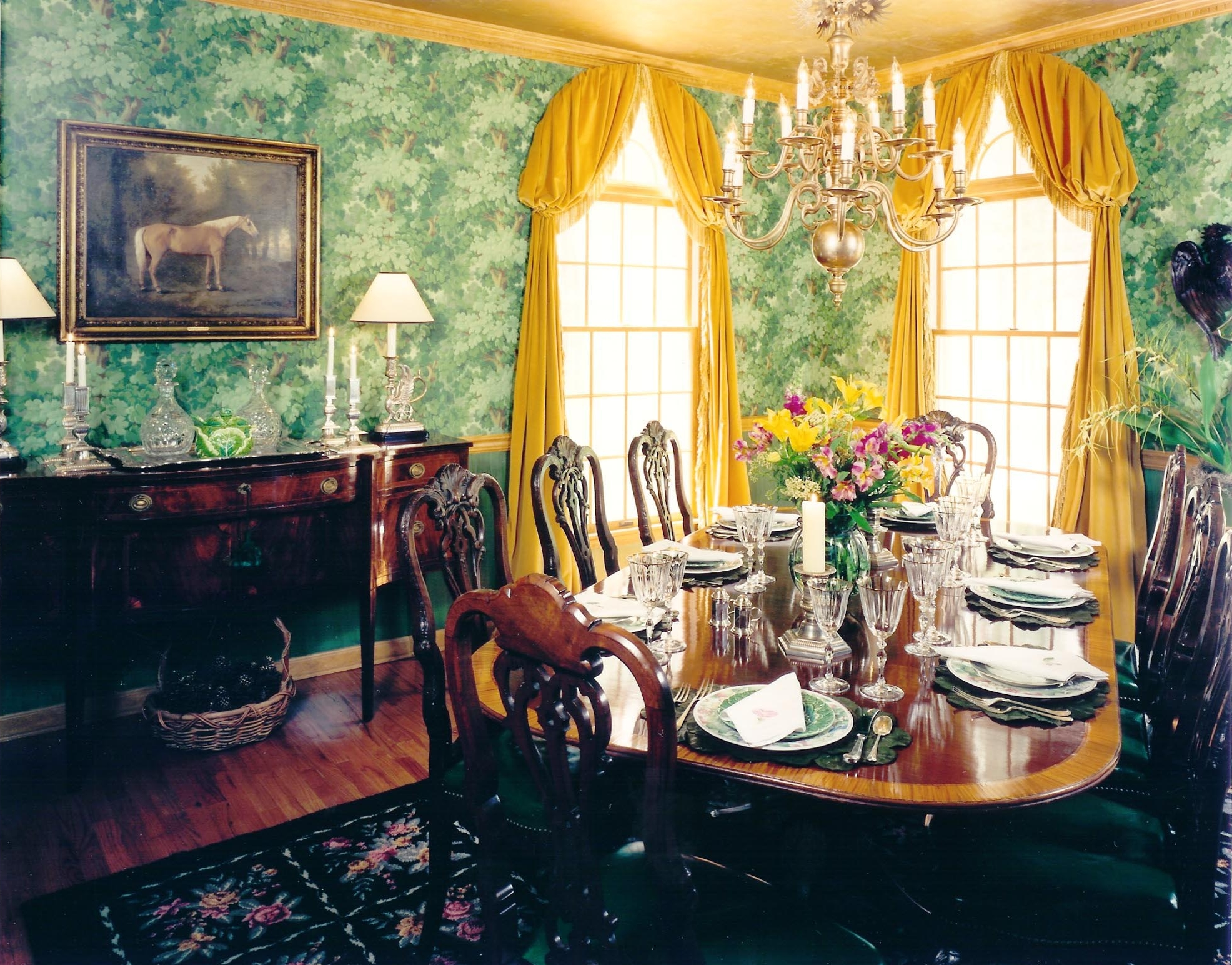 Bright dining area with wooden table for eight and yellow curtain
