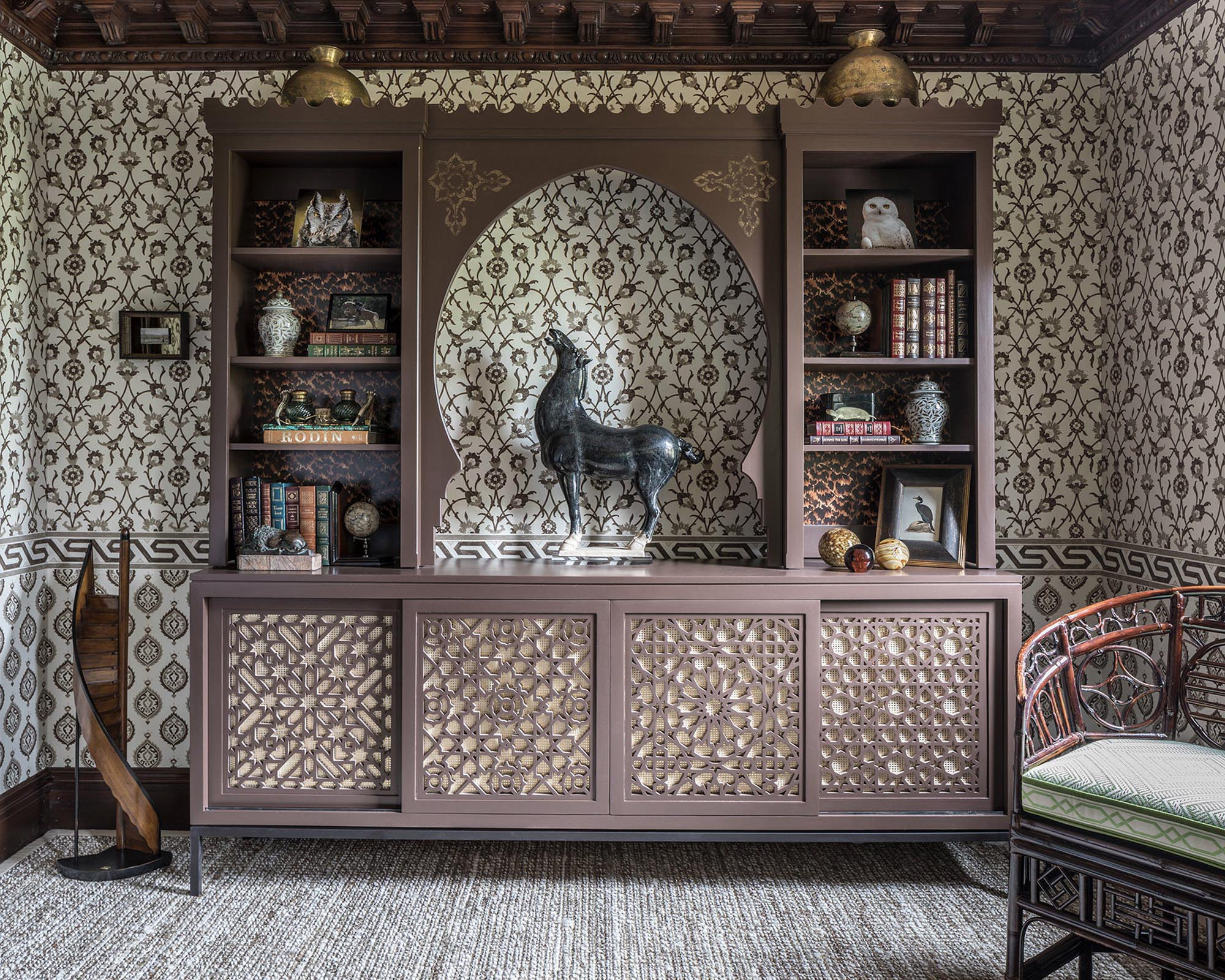 Spacious cabinet with stylish displays and books