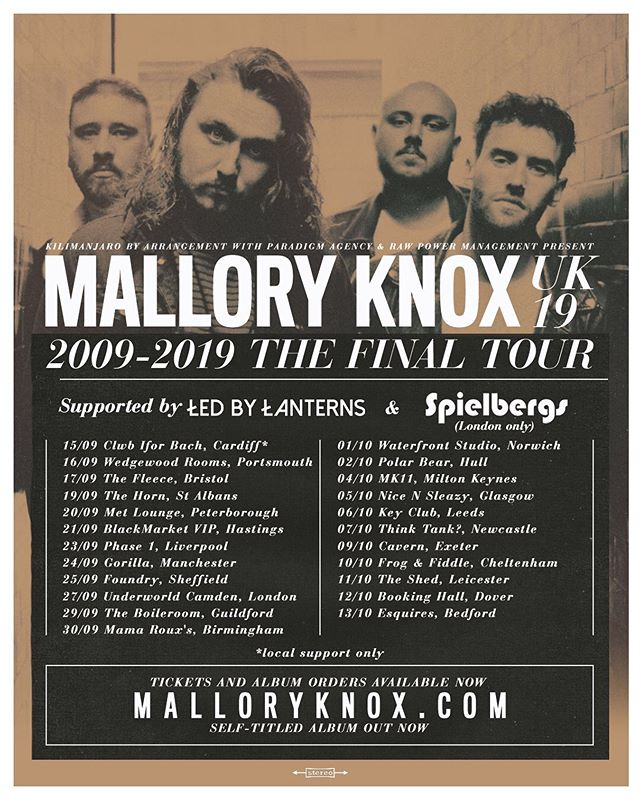 2009 - 2019.  The final tour. See you on the road kicking off this Sunday. Tickets @ malloryknox.com