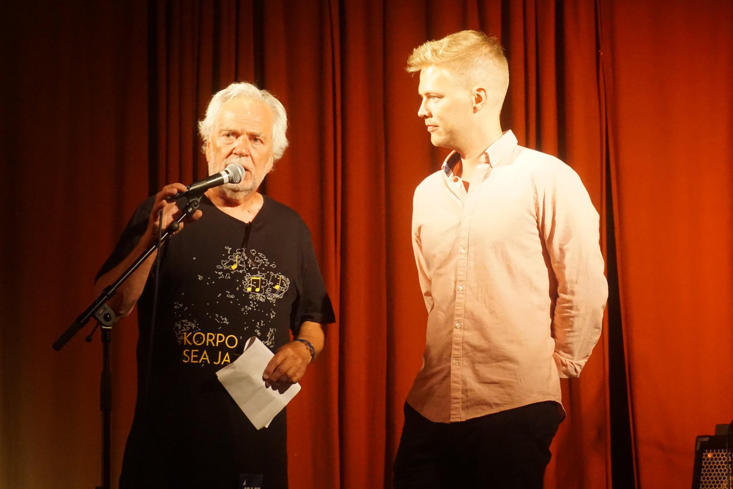 Korpo Sea Jazz -festivaalin toiminnanjohtaja Bosse Mellberg ja taiteellinen johtaja Ville Pynssi, Kommunalgården, 25.7.2019
