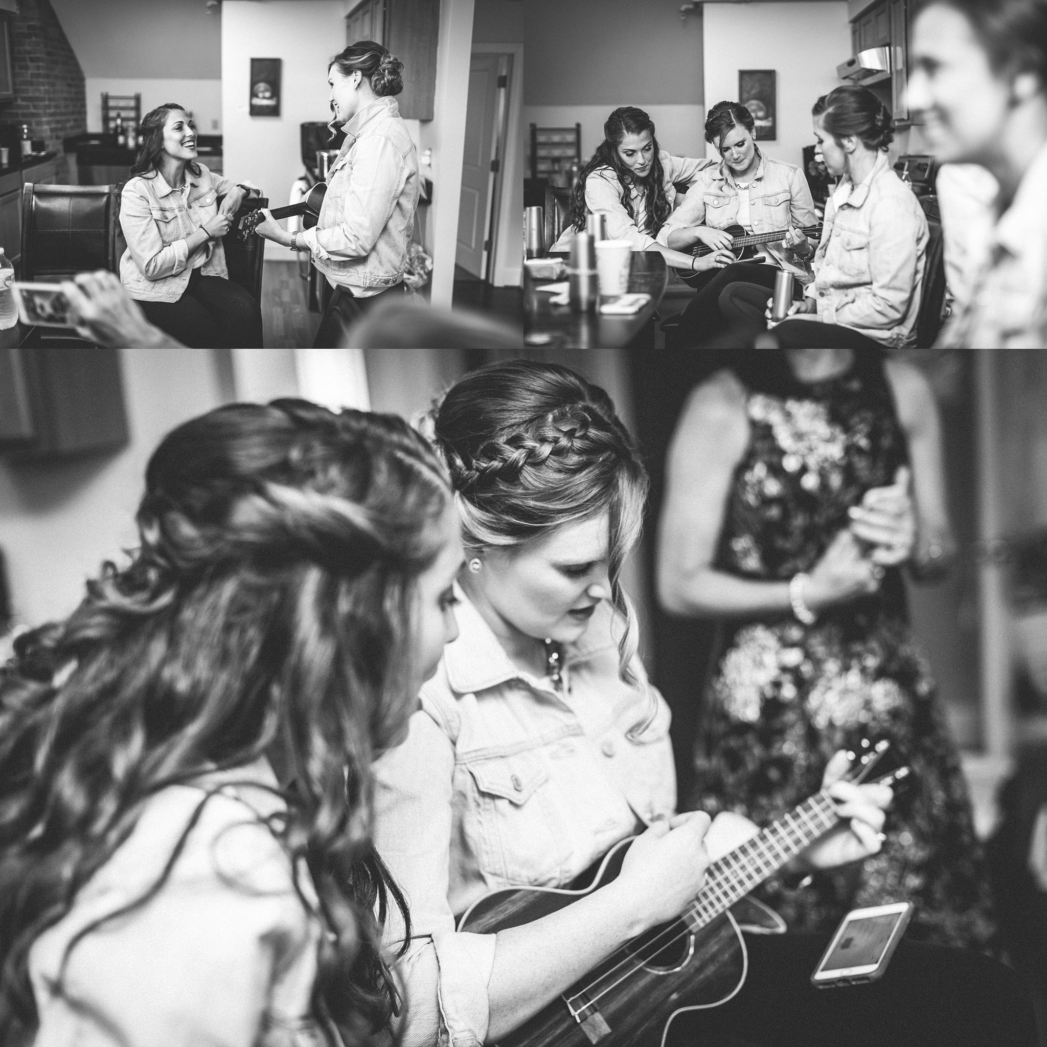 bridesmaids playing music