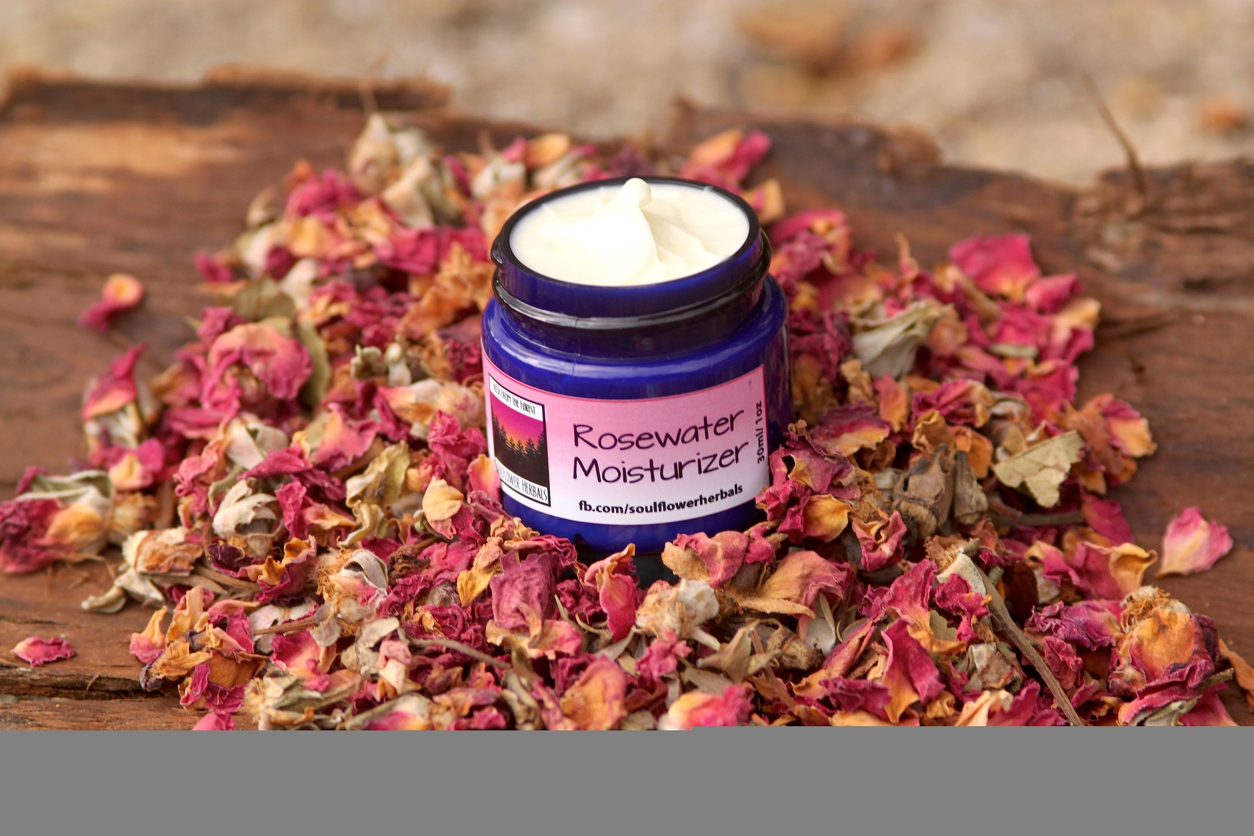 Soul FlowerRosewater Moisturizer - Rosewater Moisturizer is our unique and most popular moisturizer made using pure rosewater and Extra Virgin Olive Oil infused with Locally Harvested Rose Petals to capture the revitalizing effects of Roses in harmony with the nourishing effects of Extra Virgin Olive Oil. This rich moisturizer is specially formulated for all skin types and will leave your skin feeling nourished and rejuvenvated without feeling greasy.
