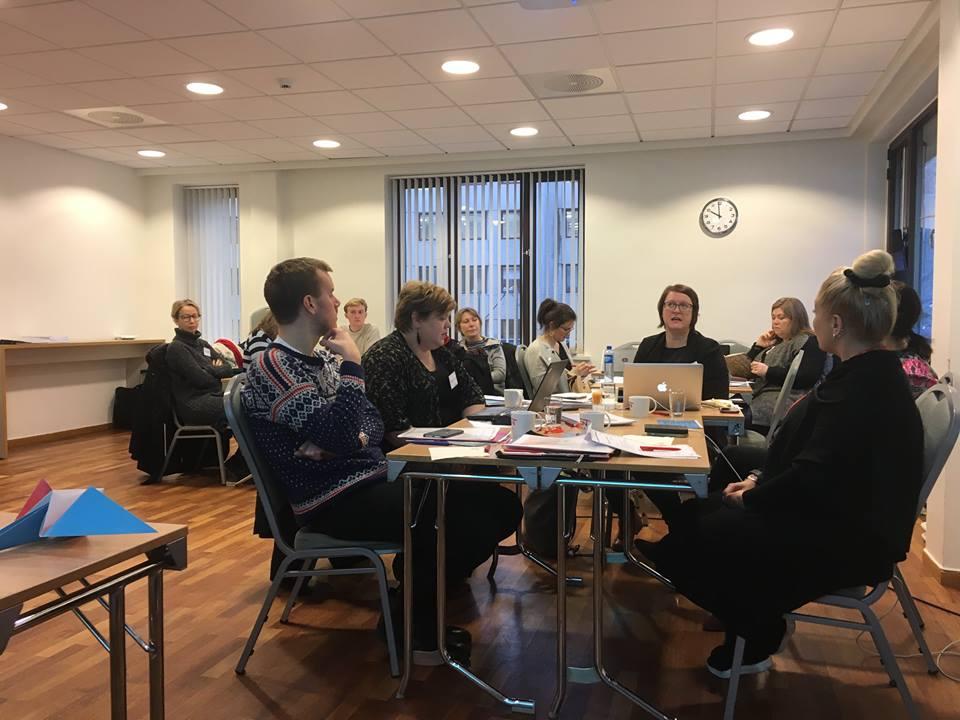 Tapaamiseen osallistui edustajia pohjoismaisista projekteista, jotka työskentelevät sukupuolten väliseen tasa-arvoon liittyvien asioiden kanssa. Kuva: NIKK.