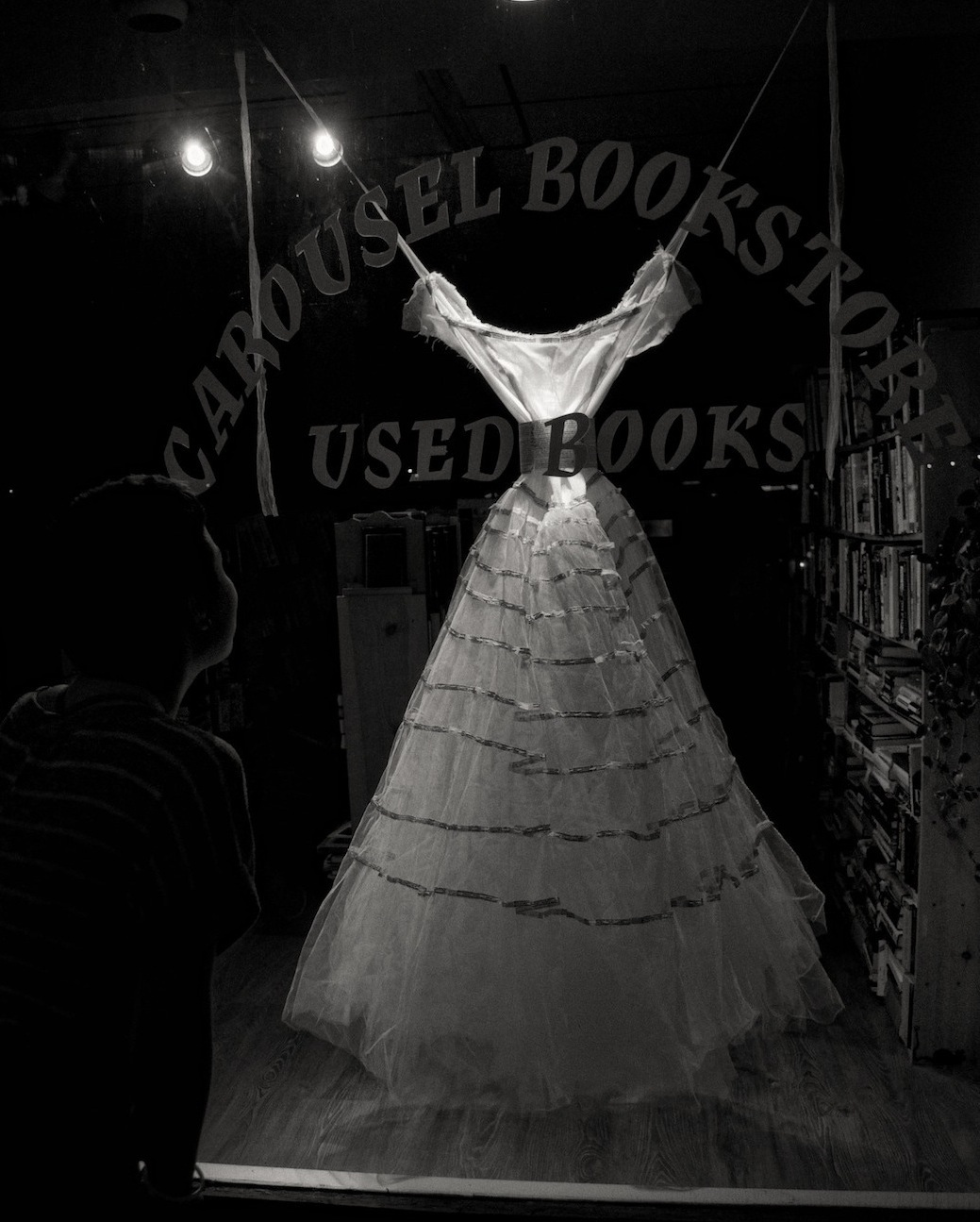 Esther's Narrative  / Found wedding dress, book pages, beeswax, thread / 150 cm x 90 cm x 90 cm (5' x 3' x 3') / 2006 (this installation 2012) photo: John McCarthy