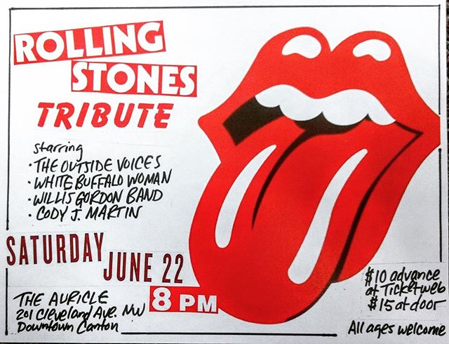 Stones tribute show this Saturday June 22 at @theauricleoh with @codyjmartin @theoutsidevoicesband #willisgordonband show starts at 8. Get tickets now for $10!
