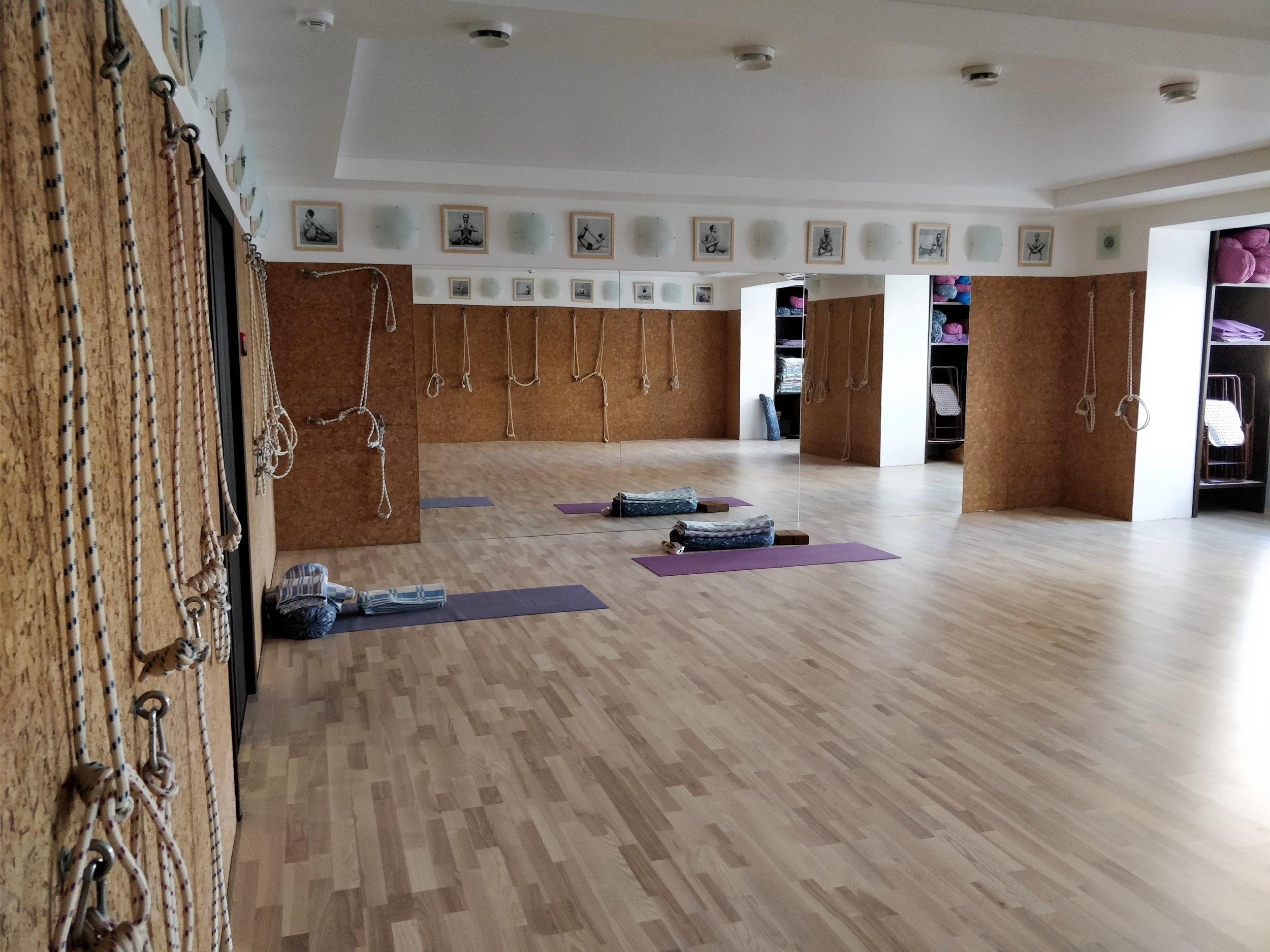 Два больших светлых и теплых заладля занятий по йоге Айенгара. Залытакже сдаются в краткосрочную аренду.