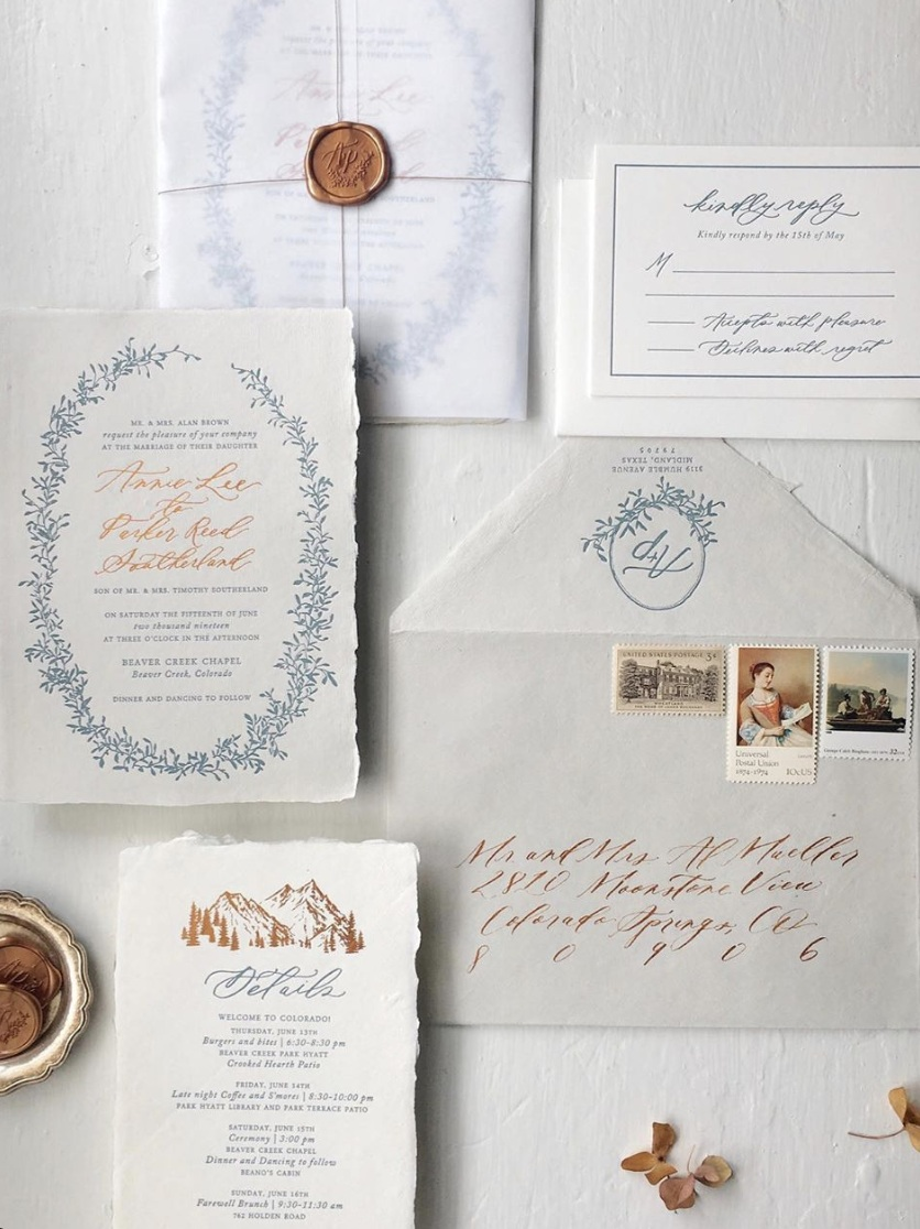 """sugared fig paperie – calligraphy/design - Claire Carstens began her invitation design journey in high school, when she created her school's prom invitations. When she made her own wedding invitations, she fell in love with wedding stationery and the many ways it can be embellished.""""Your wedding stationery is what first sets the tone for your event, and we not only want to create beautiful paper that encapsulates your wedding vibe, but gift you and your loved ones with a timeless keepsake, to cherish for years to come."""""""