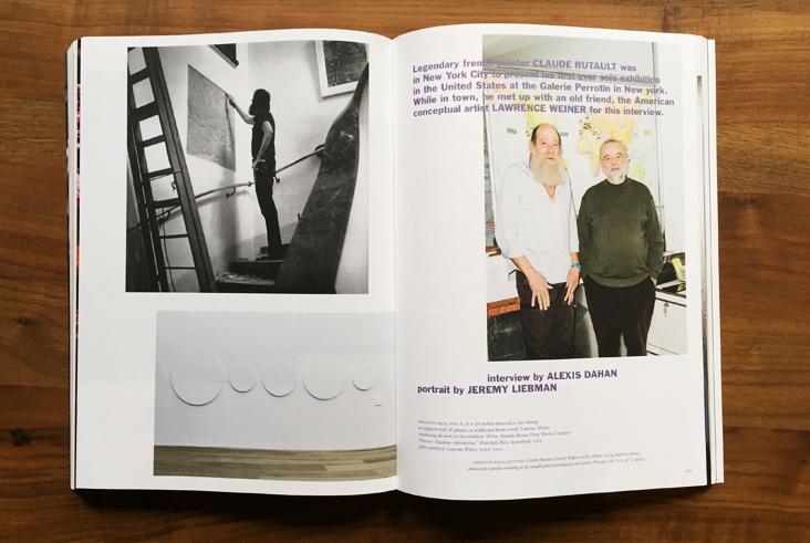 Alexis Dahan interviews Lawrence Weiner and Claude Rutault in Purple Magazine #23  (click on image for text)  * * *