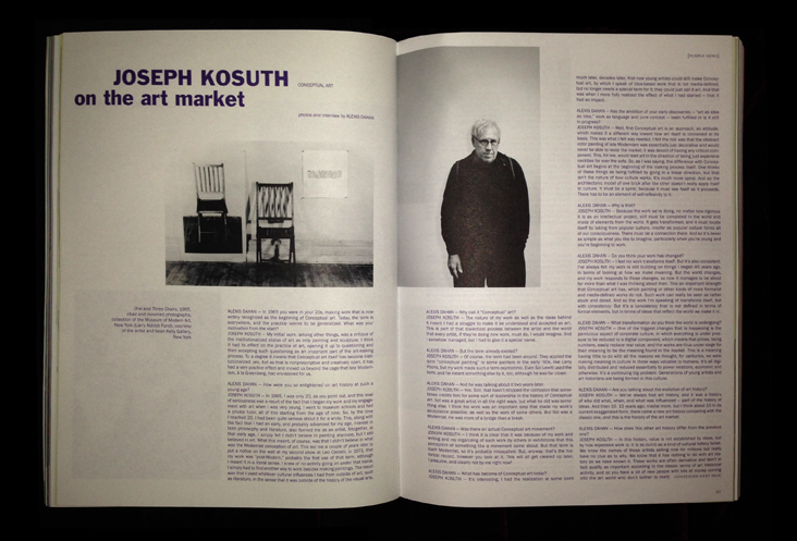 Alexis Dahan interviews Joseph Kosuth in Purple Magazine #21  (click on image for text)  * * *