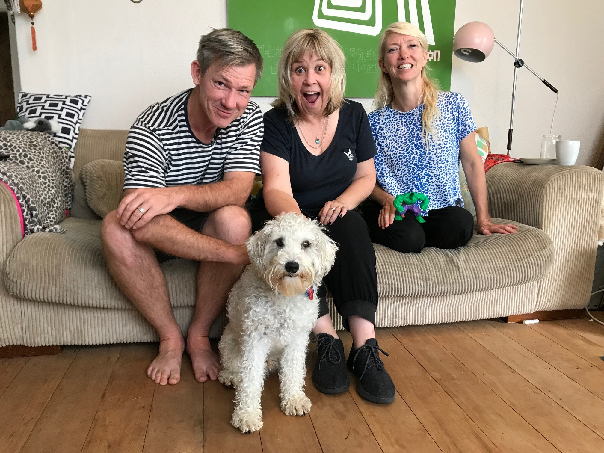 Lyndee-Jane Rutherford, her dog Dougal and Paul Dodge and Ruth Carr of Minuit.