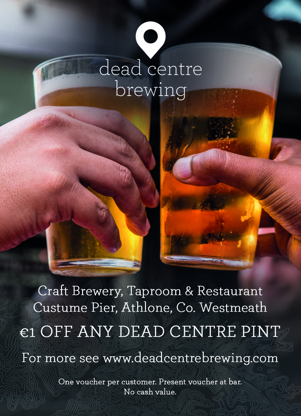 The most central craft brewery in Ireland. Dead Centre Brewing creates outstanding beers located in the heart of Athlone. - €1 OFF ANY DEAD CENTRE PINT