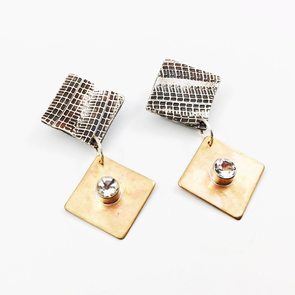 White Topaz Tredz Earrings by Ride Like a Girl