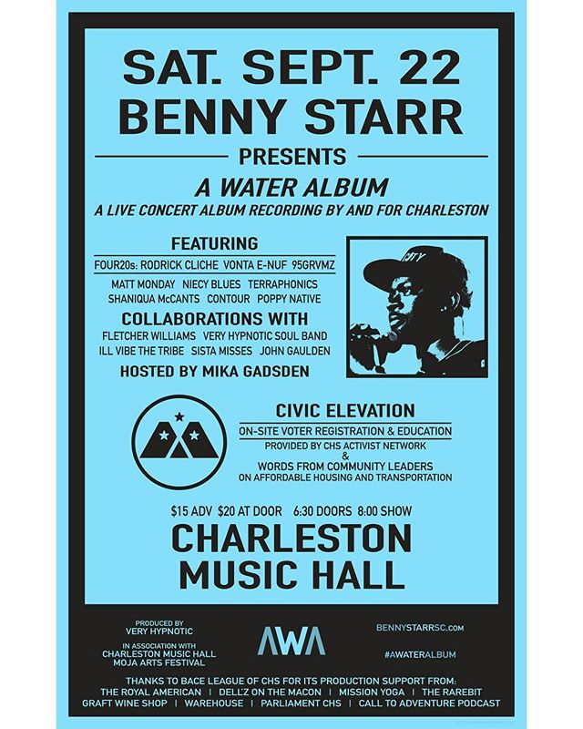 """We are beyond proud to support this 'leap into the unknown' 🖤 @benny_starr . . . . """"It's been 3 years since my last album. There has been time for growth and transformation."""" ________ """"Growing up in the lowcountry, water has always been extremely significant ... it's life, baptism, and renewal. It takes on any form. I'm also a water sign, living in a city with its own relationship to water that is becoming more complex and disastrous by the day. With these things in mind, I was able to write an album that aimed to grapple with – and reveal the connectedness of – all of these truths."""" ________ """"At its core, this is a Charleston album. It was written here, and was inspired by the people and energy here. So I decided that the only way to share it, record it, and capture its essence is with the city. This will be the first time this music has been played live, and I want to capture that moment. It is in that spirit that over 30 incredible musicians, creatives, activists, and civic leaders come together, contributing to the musical (@coastrecords, @macstillbussin, @swavay, @yangbeets, @enon23, @manheviews), visual (@internetjohn_, @samiramiche), and civic presentation of this concert recording and the community of people its being shared with."""" ________ @very_hypnotic_soul and @bace_chs would like to thank all of our partners, sponsors, and contributors! I look forward to seeing you all at @chsmusichall on Saturday Sept. 22nd! Tix are available now! (LINK IN BIO) #aWATERalbum #HipHop #Creatives #Community #Art #CharlestonSC 🙌🏿"""