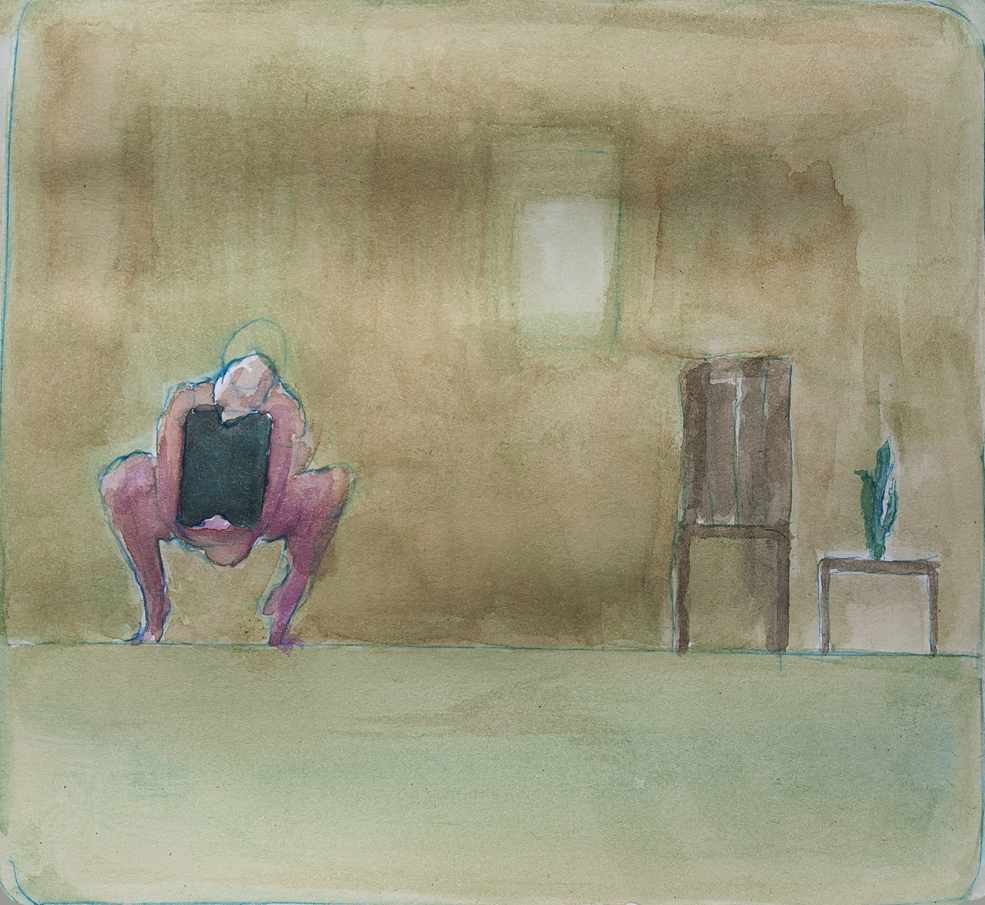 Zimmer II (study for performance), 2014 | watercolours on paper, 25x25 cm