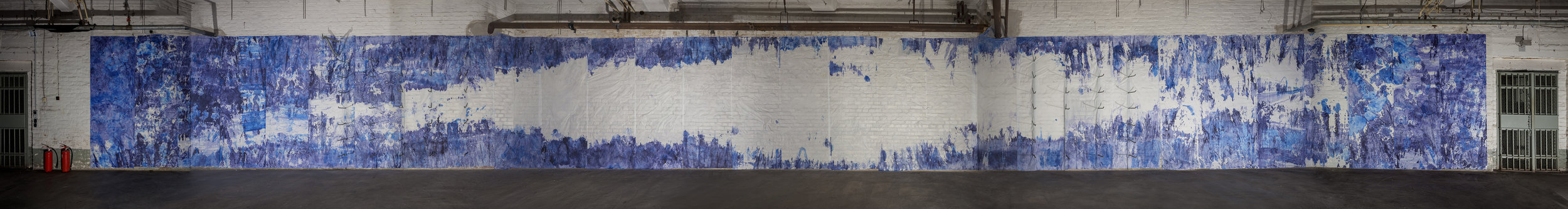 Raumfahrt, 2018 - Painting photomontage of the room ink, watercolours on rice paper glued on walls, 250 cm x 30 m
