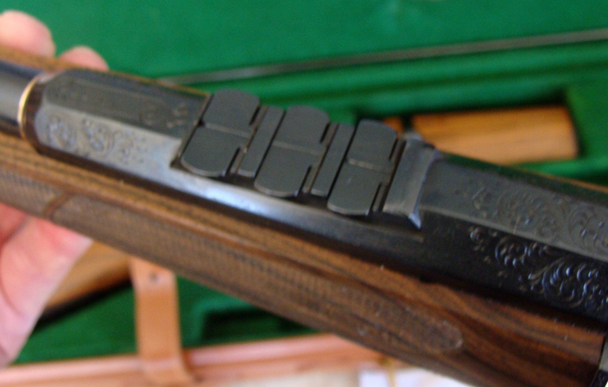 View of Express Sights and Engraved Barrel of  1 of 1 Master Gunsmith Made 22 Takedown
