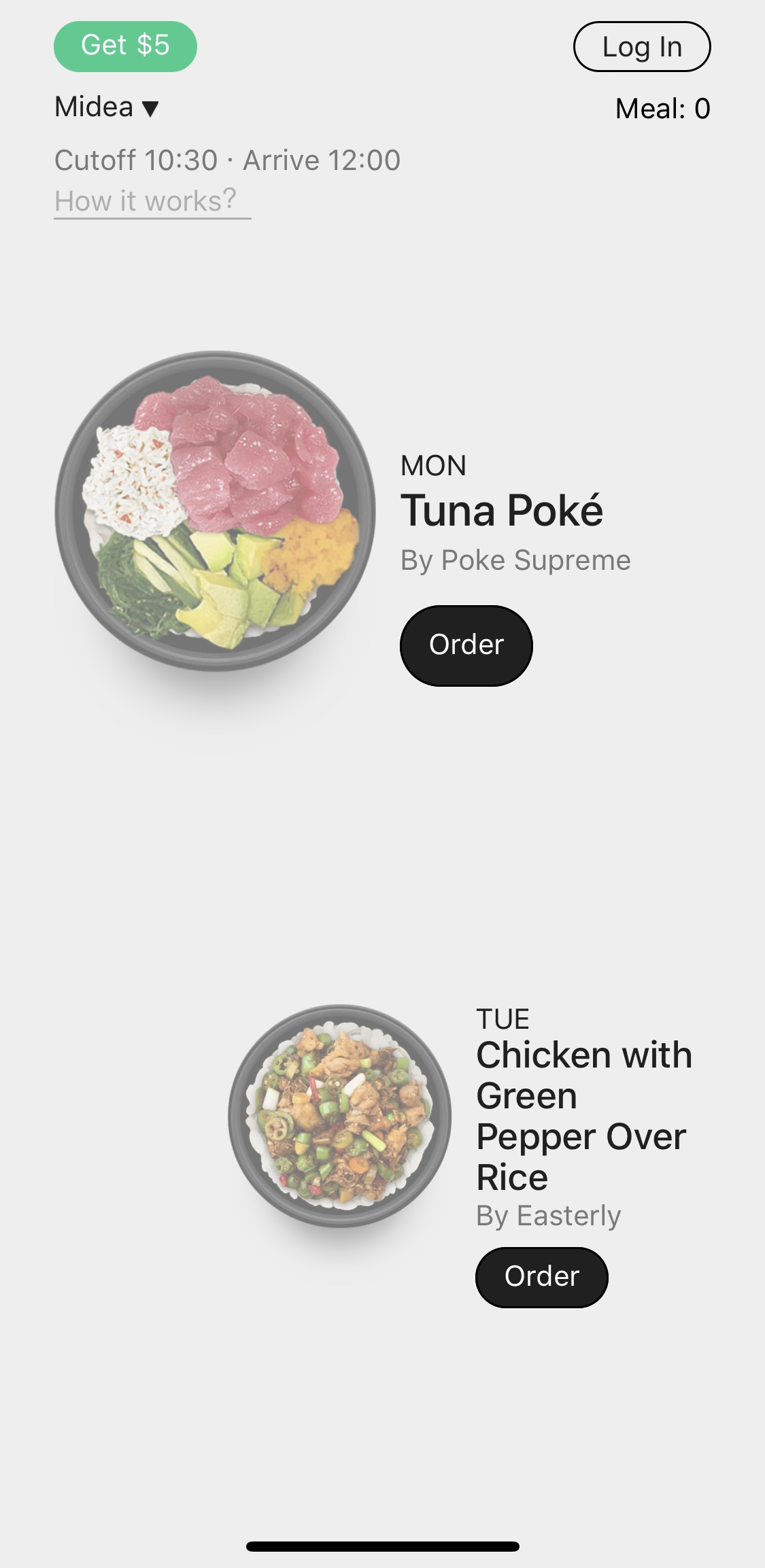 Touch Log in to input phone number.  Touch food image to explore the whole menu.