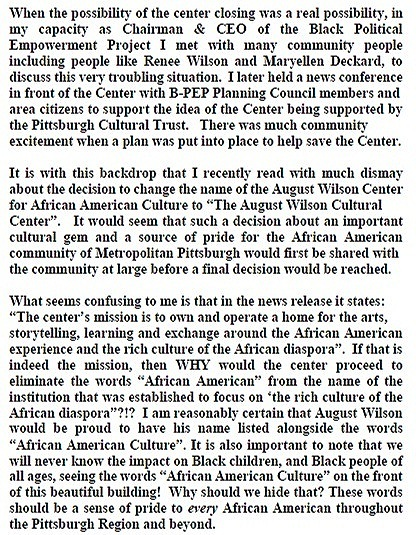 "Tim Stevens' official statement to Janis Burley Wilson, CEO and President of the August Wilson Center, and Ronald Lee Newman, Manager of the August Wilson Center. regarding the removal of ""African-American"" from the building name."