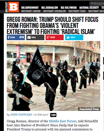 The Middle East Forum, where Joseph Zuritsky, is a board member, cited on Breitbart.