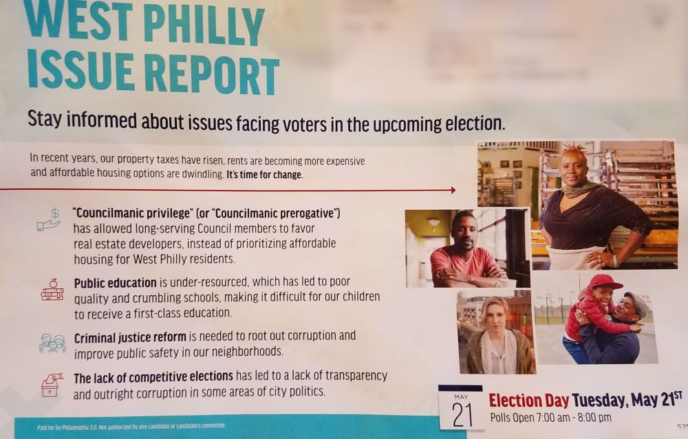 "A ""West Philly Issue Report"" mailing funded by Philadelphia 3.0 PAC"