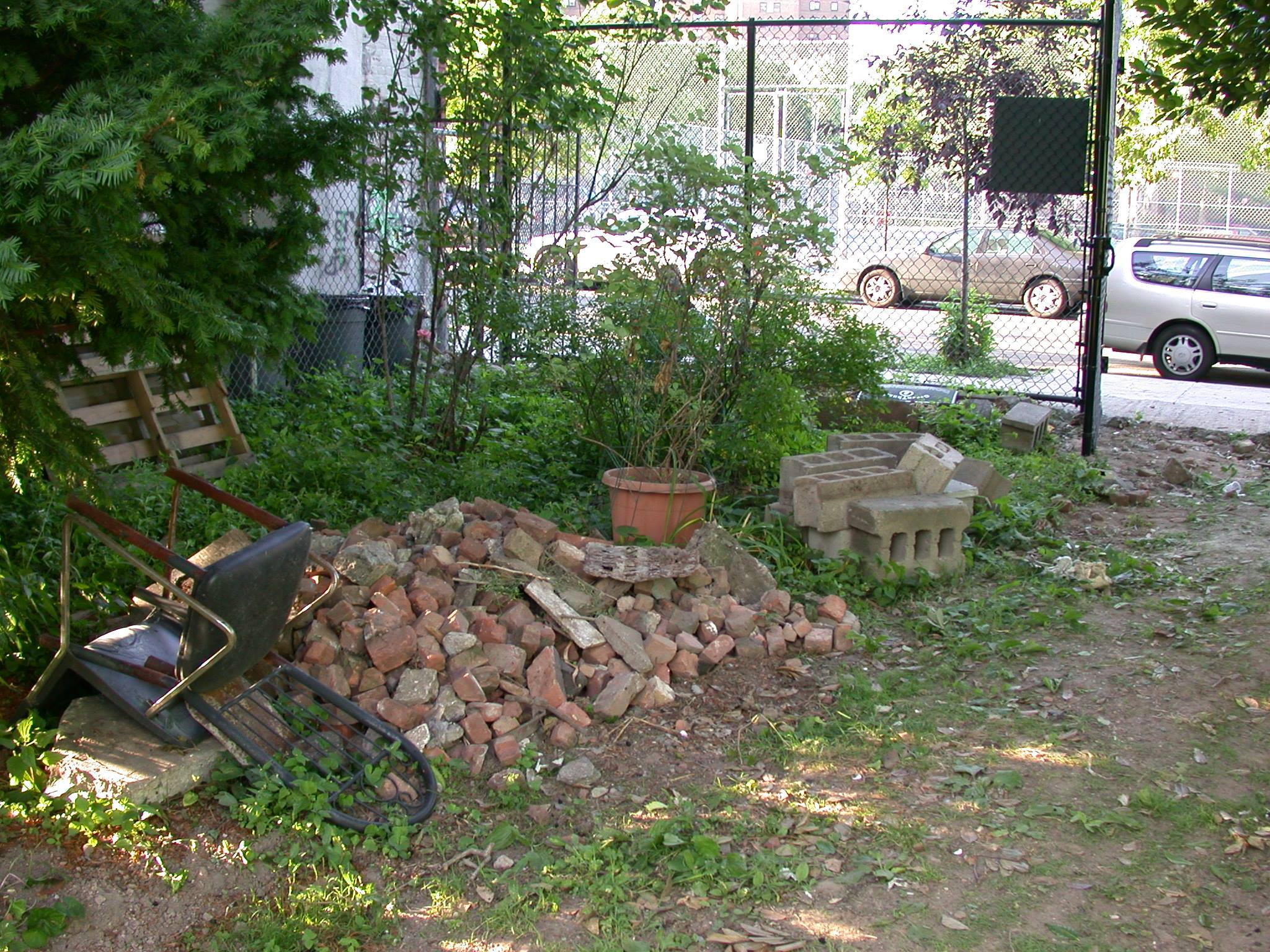 Photos from Christine Johnson, of Pleasant Village Community Garden, before the renovations.