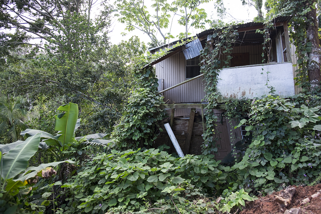 A home after it was hit by a landslide.