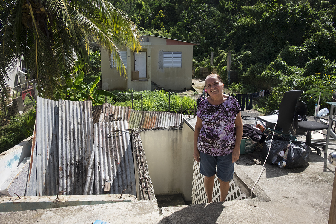 This woman's home was very heavily damaged by Maria.