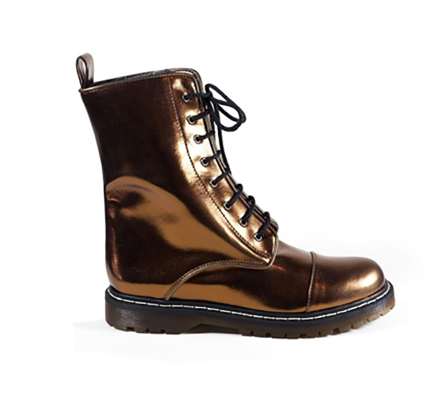 - TABITHA' Metallic Combat Boots by Zette Shoes.Fun Fact:These ethically handcrafted European made shoes are 100% vegan and Peta approved.http://www.zetteshoes.com/Instagram:@zhetteshoes