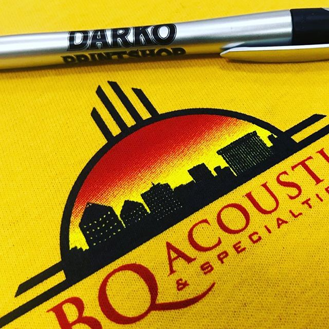 It's pretty rad owning a company where you get to meet so many talented people. This front pocket print was made for some awesome locals  at Albuquerque Acoustics incorporating our city skyline. We're glad to be part of your team!  #albuquerque #burque #smallbusiness #halftones #gradient #screenprint #sandiamountains #albuquerquesmallbusiness #shoplocal #newmexicotrue #nm #abq