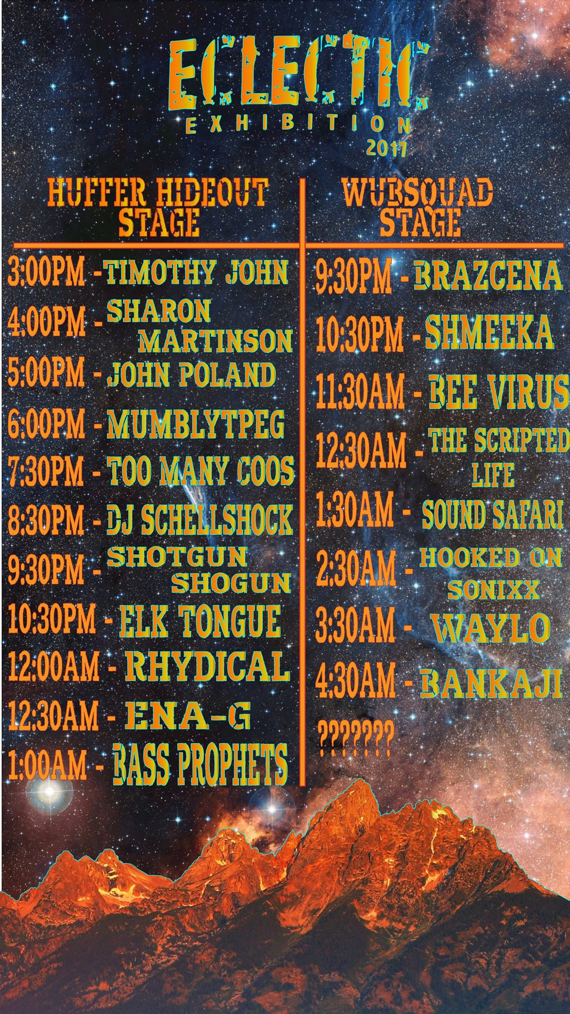 2017-08-16 Eclectic Exhibition Music Festival Poster Lineup Centennial Wyoming.jpg